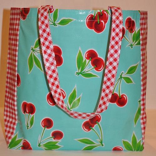 Oilcloth Market Tote -  One Size - Aqua Cherry