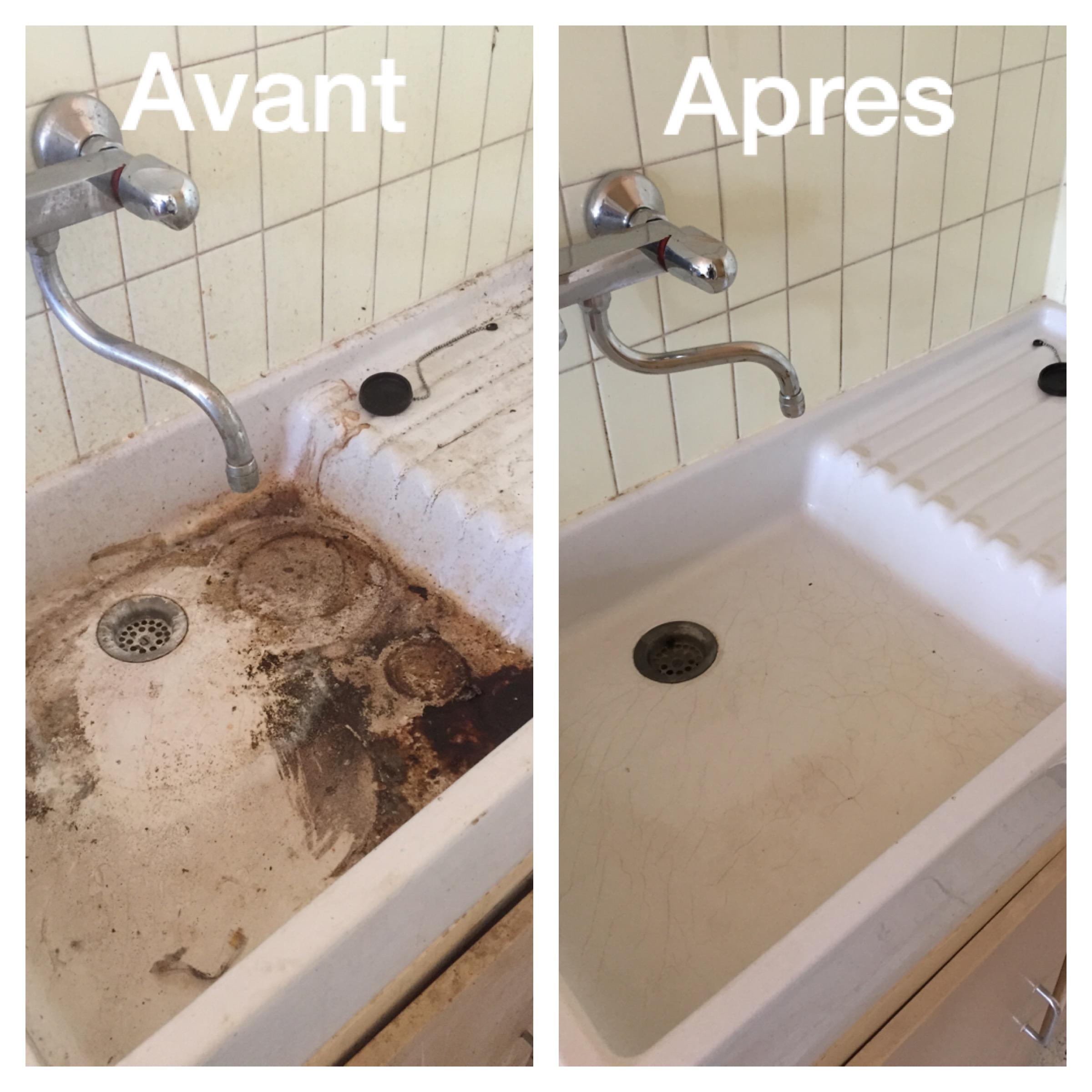 débouchage et décapage d'un évier