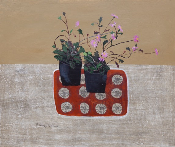 Pink Daisies on Red Tray