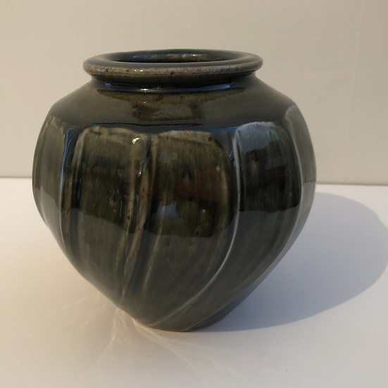 Round Faceted Cut Sided Vase Form by Nick Rees