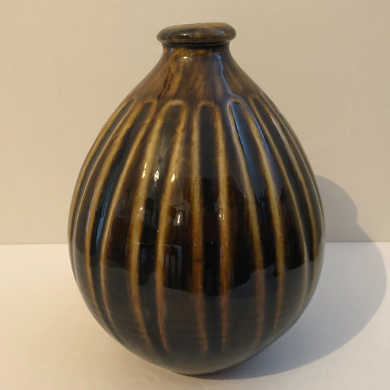 Tall Fluted Brown Bottle Form by Nick Rees