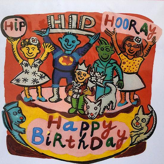 Hip Hip Hooray Happy Birthday Card by Jo Lamb