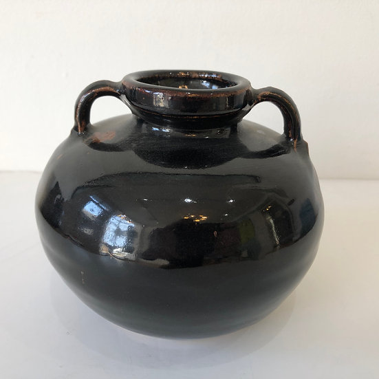 A Double lugged tenmoku bottle by Ursula Mommens