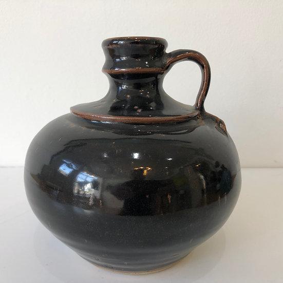 Single lugged tenmoku bottle by Ursula Mommens