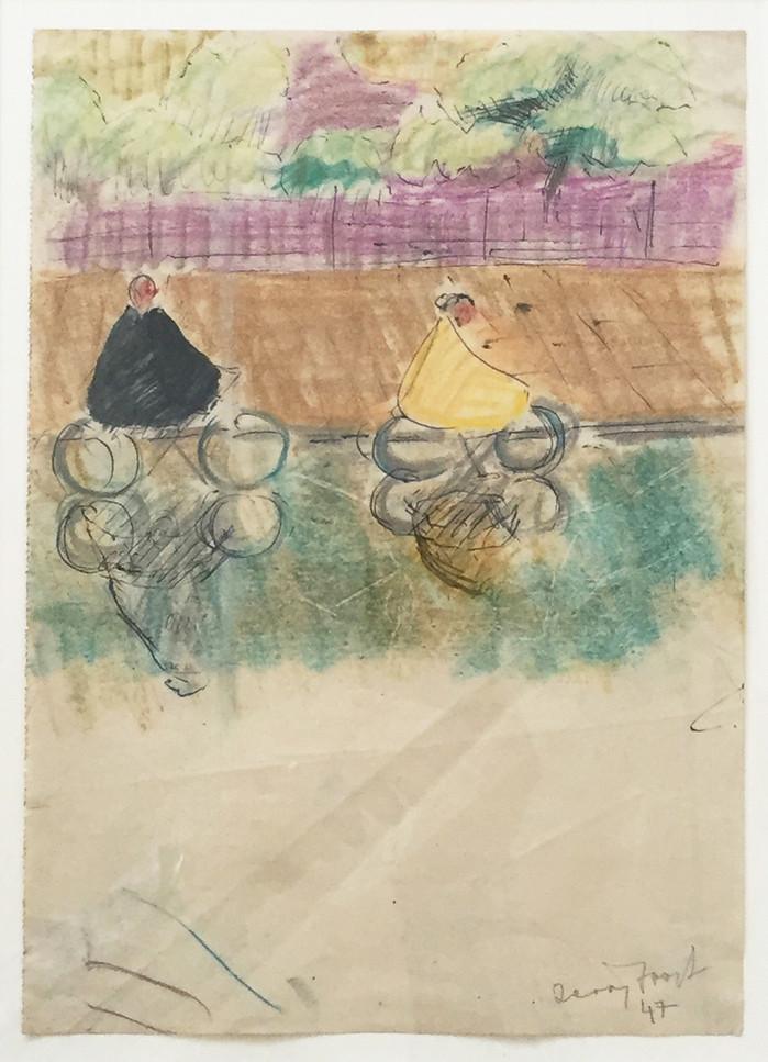 Cyclists, Battersea, 1947