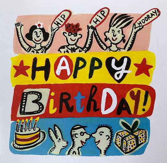 Hip Hip Hooray Happy Birthday Card by Jo Lamb