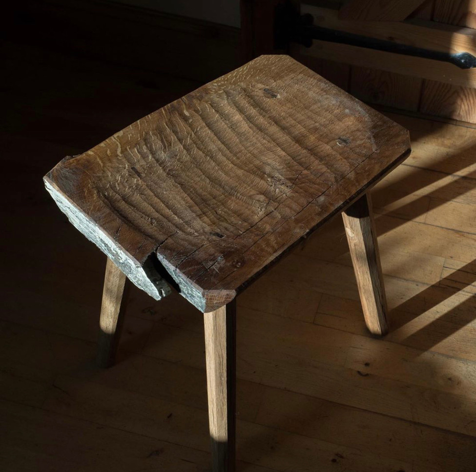 Aged Oak Milk Stool