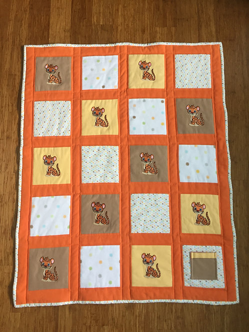 Leopard Power Animal Protection Quilt-Orange
