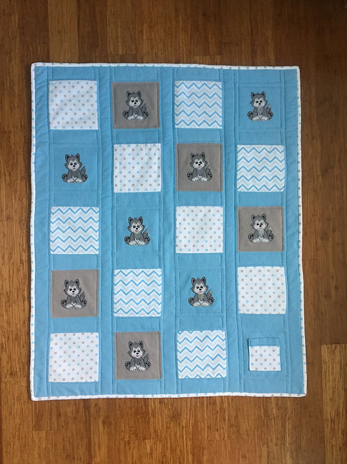 Wolf Power Animal Protection Quilt-Blue