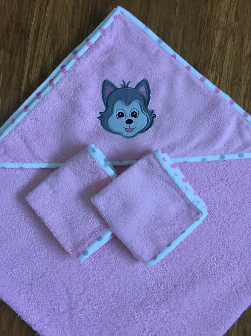 Hooded Towel with Protection Power Animal-Wolf-Pink