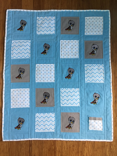 Hawk Power Animal Protection Quilt-Blue