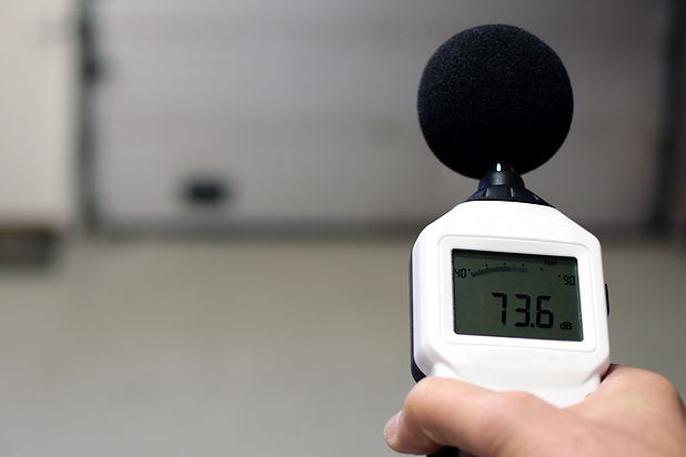 Sound level meter measuring the noise. S