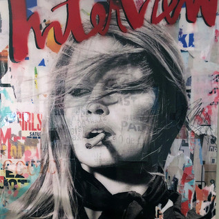 """""""Interview Bardot"""" 30""""x40"""" paper, paint, resin on canvas"""