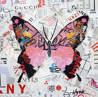 """""""Pink Butterfly"""" 20""""x20"""" collage, varnish on wood cradle"""