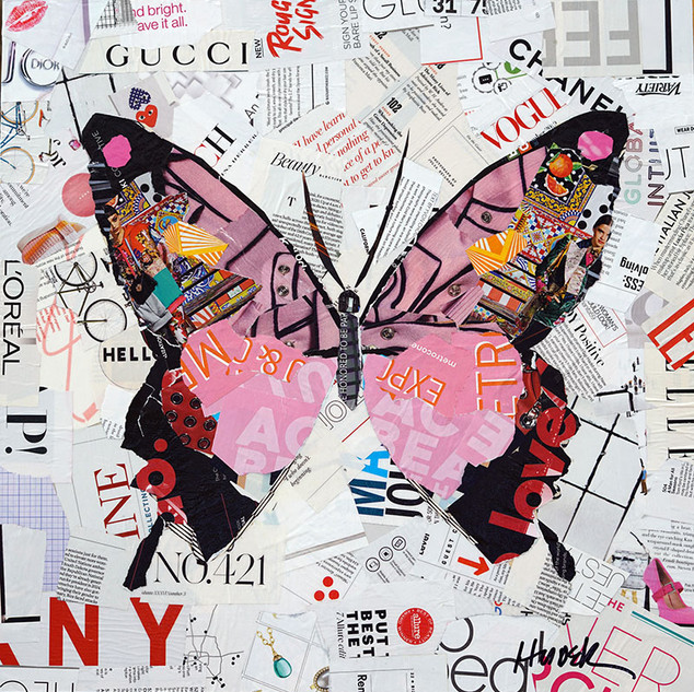 """Pink Butterfly"" 20""x20"" collage, varnish on wood cradle"