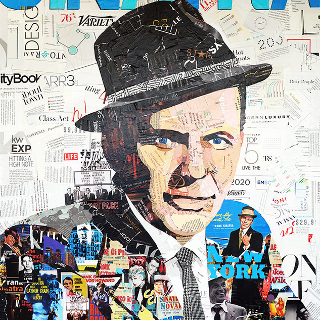 """Frank Sinatra in Living Color"" 30""x40"" paper collage on canvas"