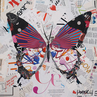 """""""Flight of the Butterfly"""" 18""""x18"""" paper collage, varnish on wood cradle"""