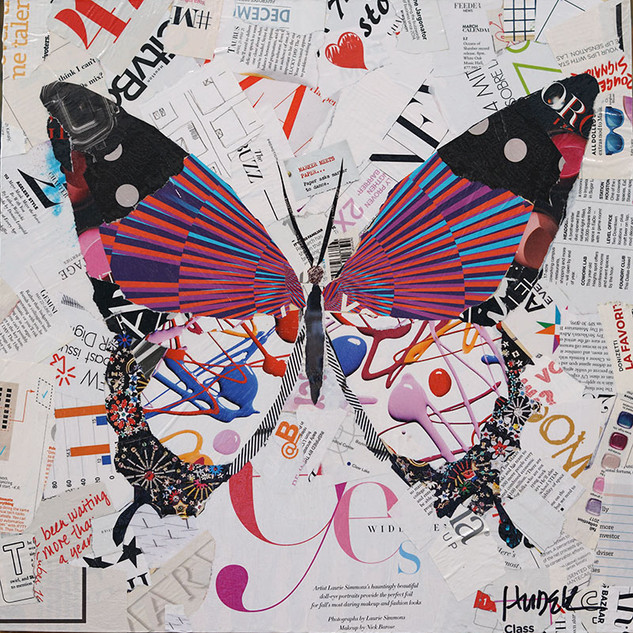 """Flight of the Butterfly"" 18""x18"" paper collage, varnish on wood cradle"