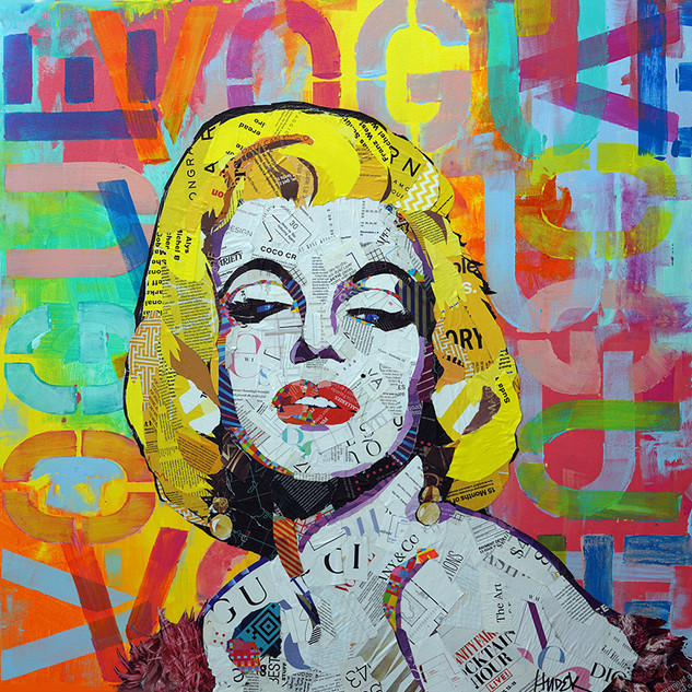 "Marilyn in Living Color 30""x30""x1.5"" mixed media collage on canvas"