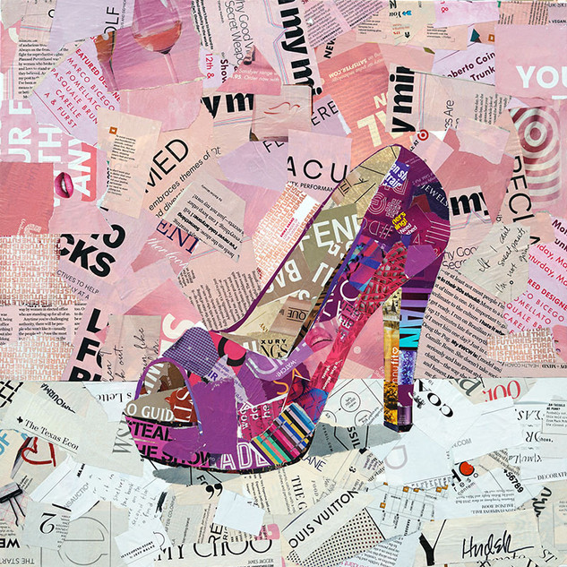 """Purple Pumps"" 20""x20"" paper collage, varnish on canvas"