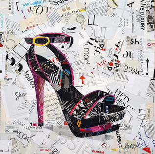 """""""Sassy Foot"""" 20""""x20"""" paper collage, varnish on canvas"""