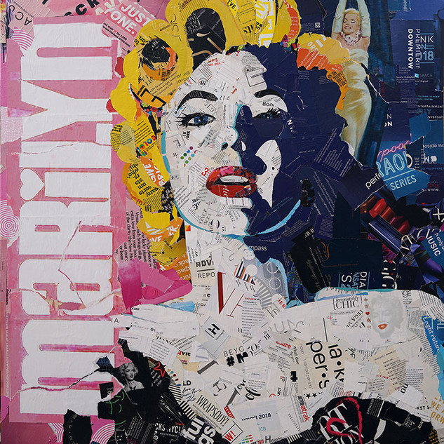 """Gentlemen Prefer Movie Star Blondes. 36""x48"" Paper collage on wood cradle"