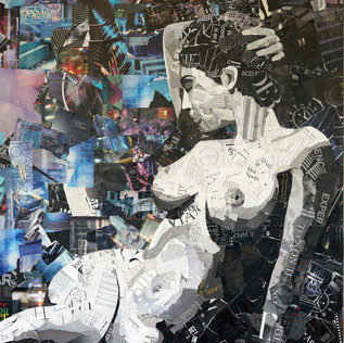 """""""Paper Muse"""" 36""""x60"""" paper collage on canvas"""