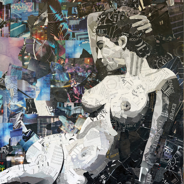 """Paper Muse"" 36""x60"" paper collage on canvas"