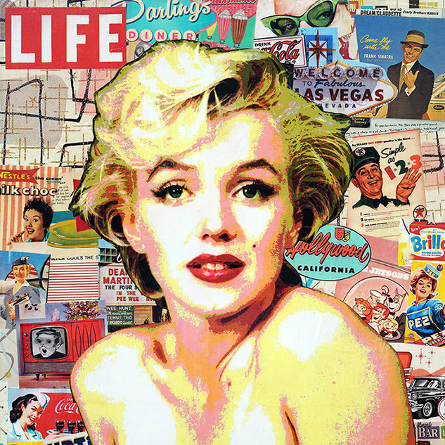 "Life in the fifties. 30""x24"" paper, resin on wood cradle"