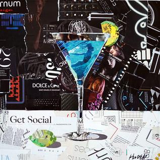 """Get Social""16""x16"" paper collage, varnish on wood cradle"