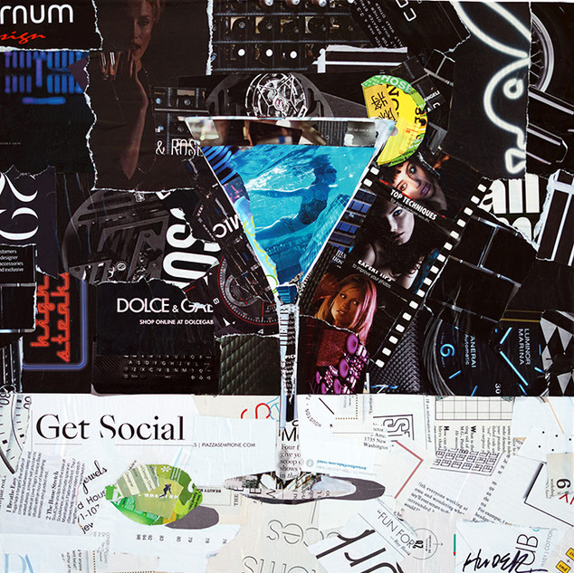 """Get Social""16""x16"" paper collage, varnish on wood cradle"