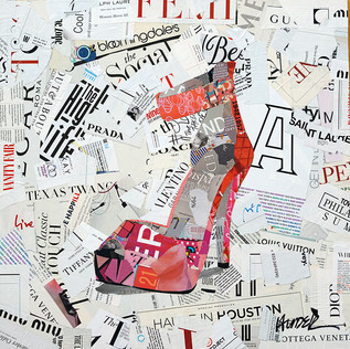 """High Heel Life"" 20""x20"" paper collage, varnish on wood cradle"