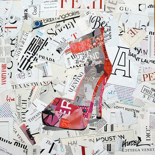 """High Heel Life"" 20""x20"" paper collage, varnish on wood cradle"