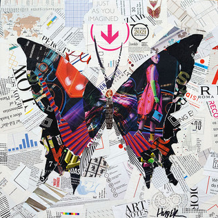 """""""Neon Butterfly"""" 20""""x20"""" collage, varnish on wood cradle"""