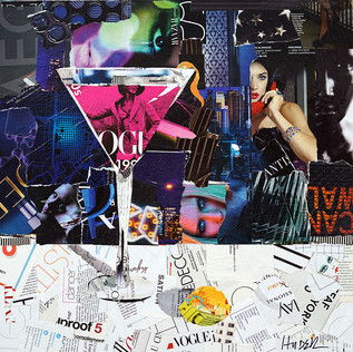 """""""Hot Pink Martini"""" 20""""x20"""" paper collage, varnish on wood cradle"""