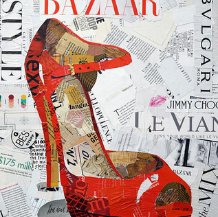 """""""Sexy Red High Heels"""" 16""""x20"""" paper collage, varnish on wood cradle"""