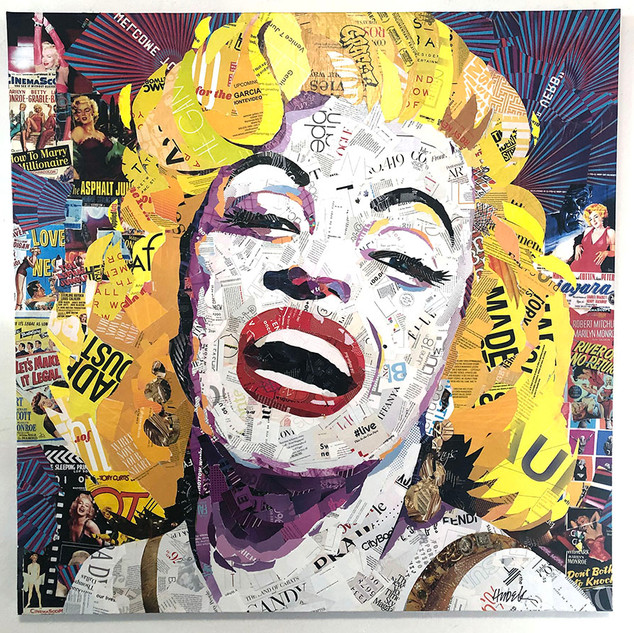 """Marilyn Bigger Than Life"" 48""x48"" Paper collage on canvas"