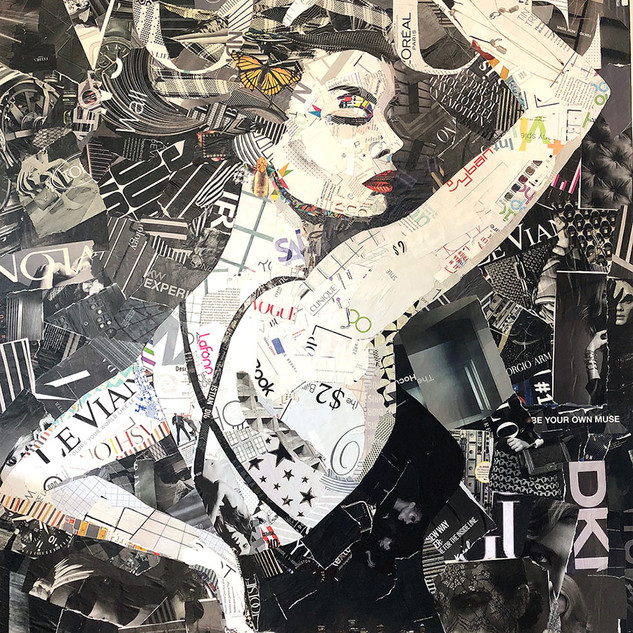 """Butterfly Vogue"" 36""x48"" Paper collage"