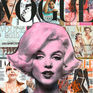 """""""Hugs and Kisses from Marilyn"""" 30""""x40""""x1.75"""" resin on wood collage"""