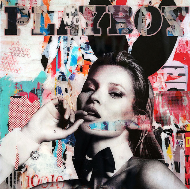 """Playboy Bunnie Kate"" 30""x40"" paper, paint, resin on wood cradle"