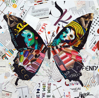 """""""Happiness is a Butterfly"""" 18""""x18"""" paper collage, varnish on wood cradle"""