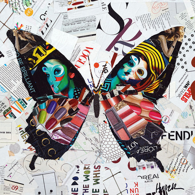 """Happiness is a Butterfly"" 18""x18"" paper collage, varnish on wood cradle"