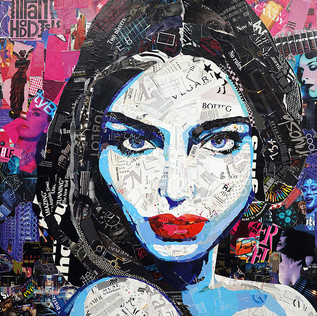 """I'm Here for the Soirée 48""""x55""""  paper collage on canvas"""