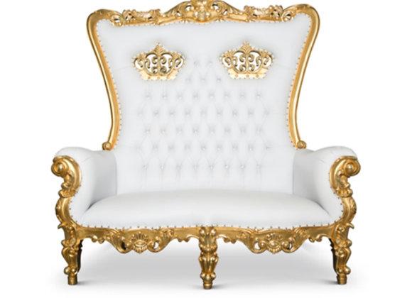 Throne Love Seat (White & Gold)