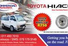 Wheel Caps For Toyota Hiace AUTO PARTS ONLINE SA