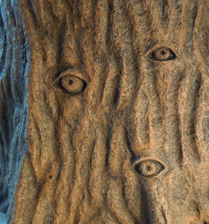 susi lopera sculpture, ceramic tree, ceramic eye, susi lopera art, susi lopera, surrealist art, ceramic sculpture, tree eyes art, tree art, tree ring art, tree stump sculpture, ceramic tree ring, tree ring clay