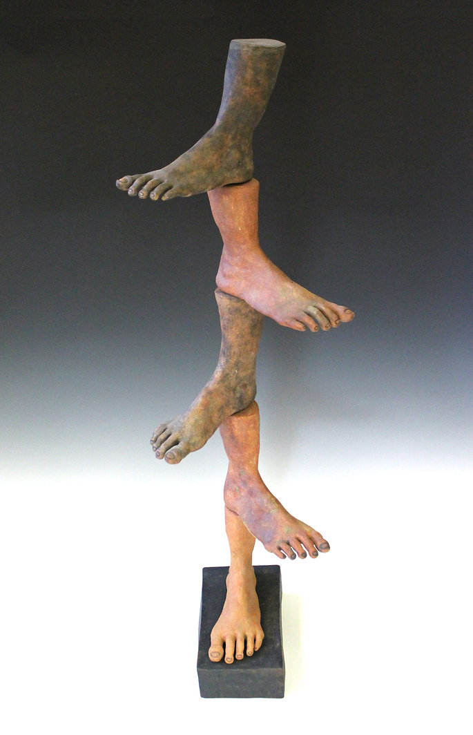 susi lopera sculpture, susi lopera art, susi lopera, surrealist art, ceramic sculpture, foot art, feet art, feet sculpture, clay tower art, stacking clay sculpture, foot sculpture, human history art, ancestors art, weird ceramic art, weird clay art, weird foot art