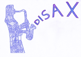 Line art silhouette of Diane Arthurs playing saxophone.  The word DISAX being blown out like music