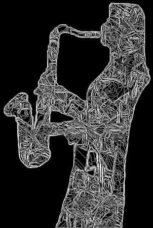 White on Black line art DISAX logo.  Diane playing tenor saxophone