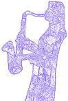 DISAX logo. Purple line art showing Diane Arthurs playing tenor saxophone.